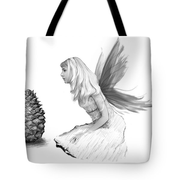 Pine Tree Fairy With Pine Cone B And W Tote Bag