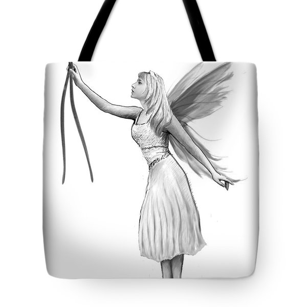 Pine Tree Fairy With Pine Needles B And W Tote Bag