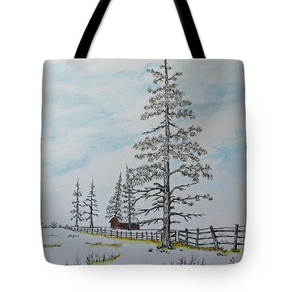 Tote Bag featuring the painting Pine Tree Gate by Jack G  Brauer