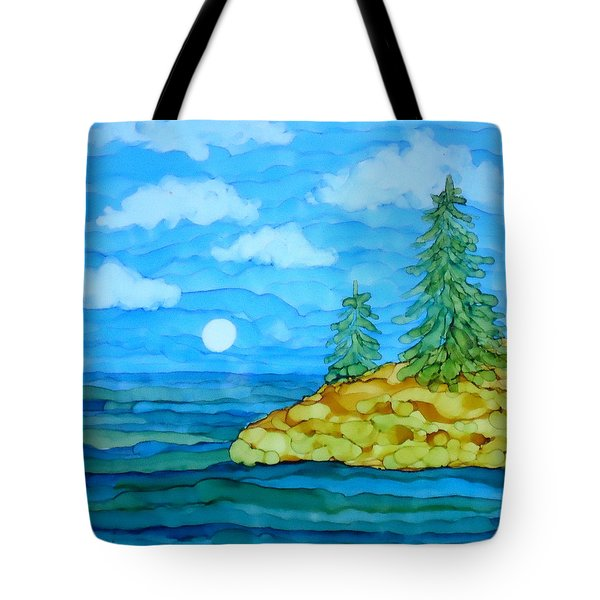 Pine Tree Moon And Water Painting Tote Bag