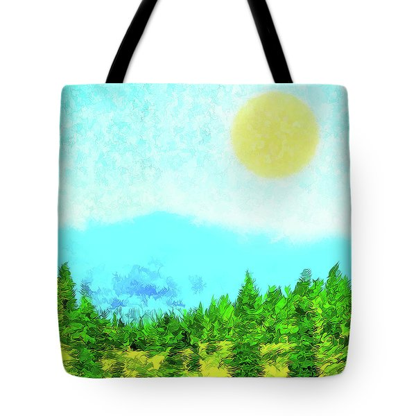 Pine Tree Mountain Blue - Shasta California Tote Bag