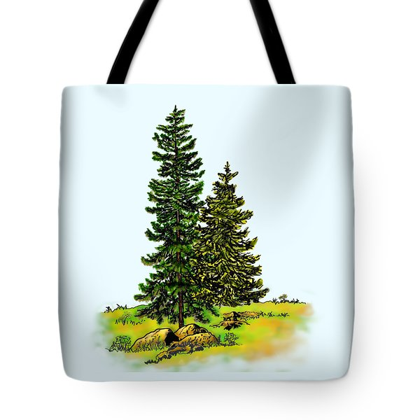 Pine Tree Nature Watercolor Ink Image 2b        Tote Bag