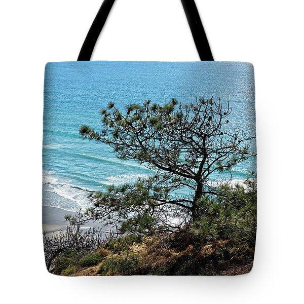 Pine Tree On Coast Tote Bag