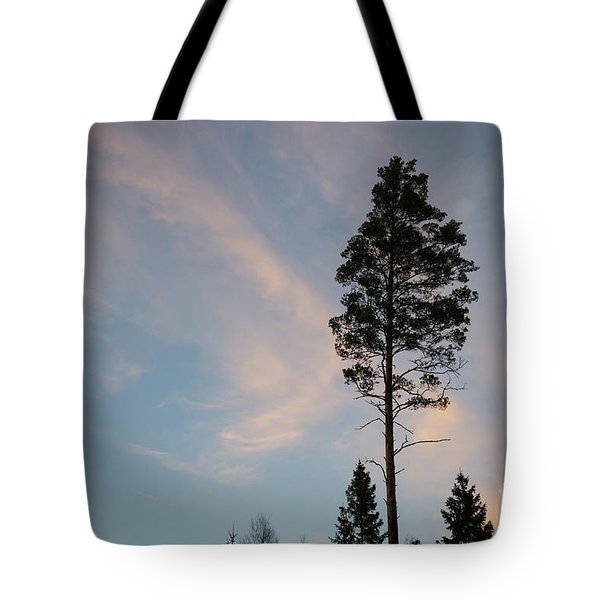 Pine Tree Silhouette Tote Bag