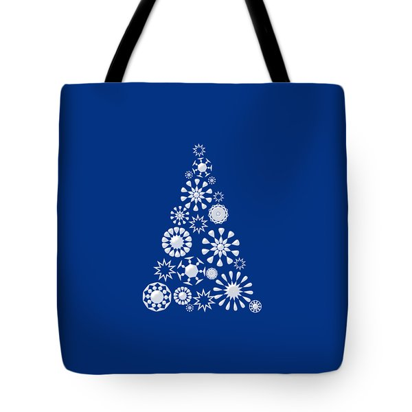 Pine Tree Snowflakes - Dark Blue Tote Bag