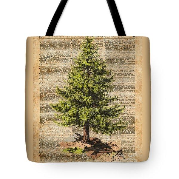Pine Tree,cedar Tree,forest,nature Dictionary Art,christmas Tree Tote Bag
