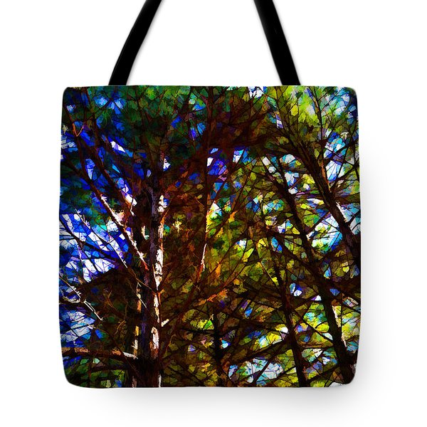 Pine Trees In Abstract 1 Tote Bag