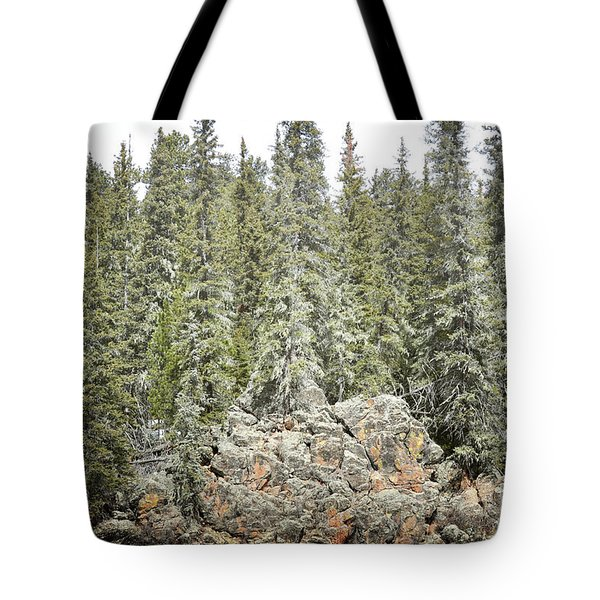 Tote Bag featuring the photograph Pine Trees Rustic Mountain by Andrea Hazel Ihlefeld