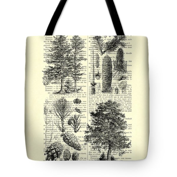 Pine Trees Study Black And White  Tote Bag