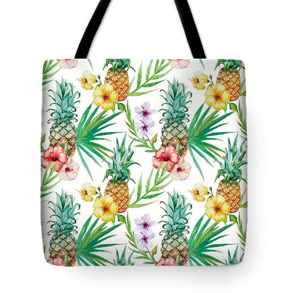 Pineapple And Tropical Flowers Tote Bag