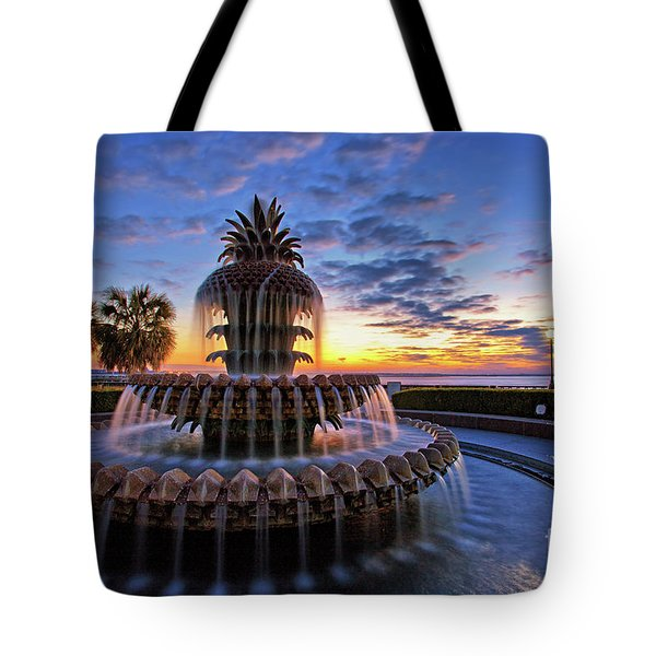 The Pineapple Fountain At Sunrise In Charleston, South Carolina, Usa Tote Bag by Sam Antonio Photography