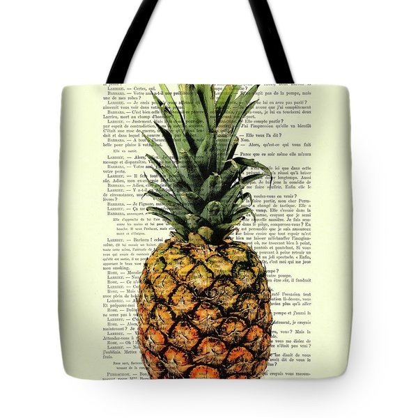 Pineapple In Color Illustration Tote Bag