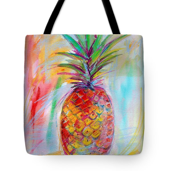 Tote Bag featuring the painting Pineapple Mixed Media Painting by Ginette Callaway