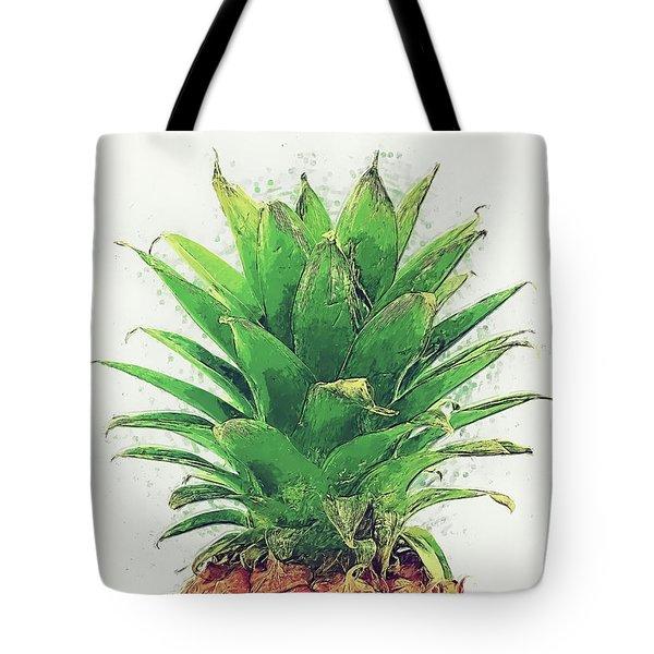 Tote Bag featuring the digital art Pineapple by Taylan Apukovska