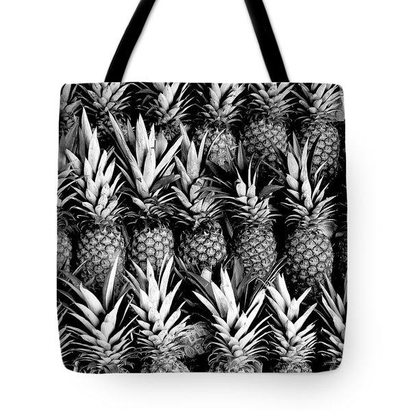 Pineapples In B/w Tote Bag