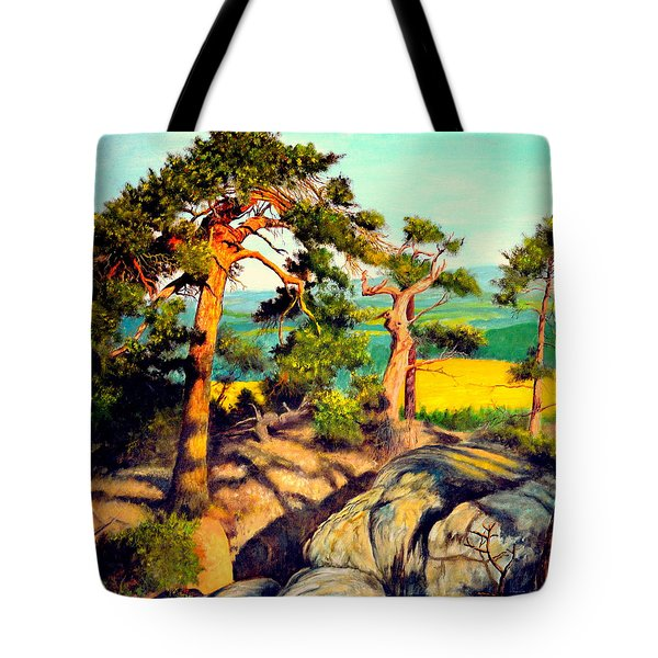 Pines On The Rocks Tote Bag