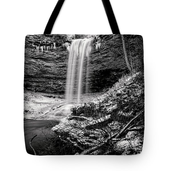 Piney Falls In Black And White Tote Bag