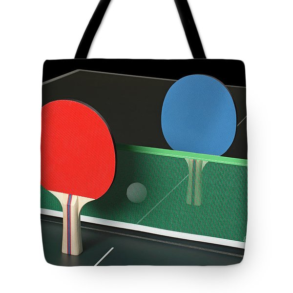 Ping Pong Paddles On Table, Standing Upright Tote Bag