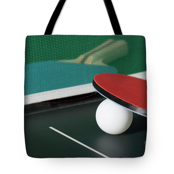 Ping Pong Paddles On Table With Net Tote Bag