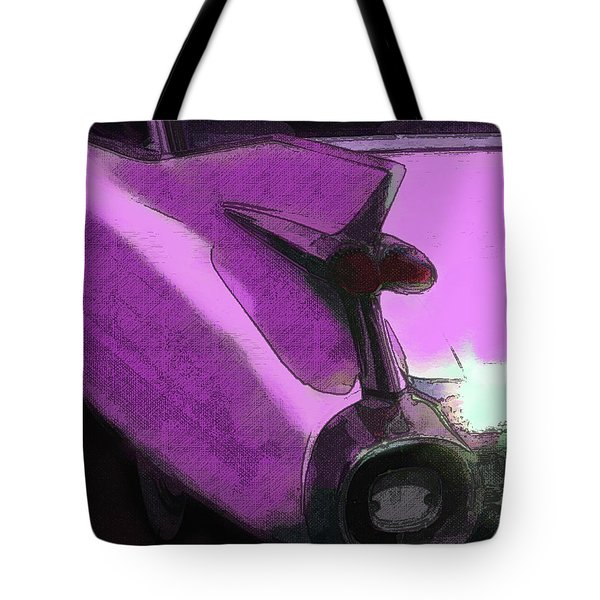 Tote Bag featuring the digital art Pink 1959 Cadillac Tailfin Pop by David King
