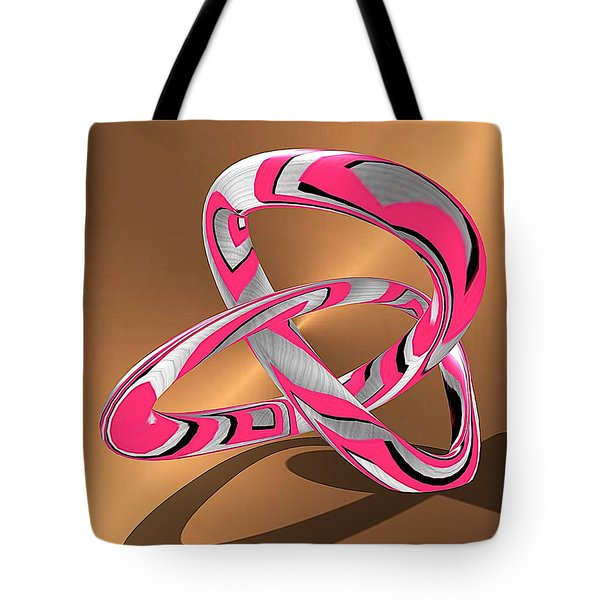 Pink Abstract On Gold Tote Bag