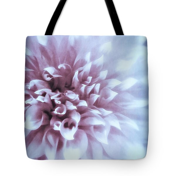 Pink And Blue Dahlia Tote Bag