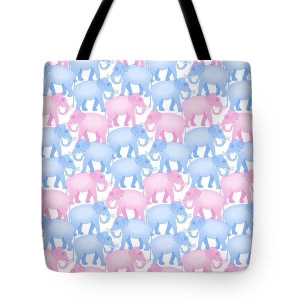 Pink And Blue Elephant Pattern Tote Bag by Antique Images