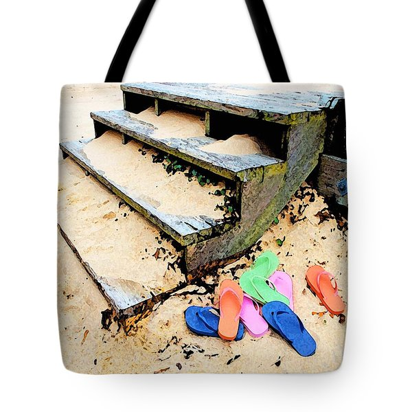 Pink And Blue Flip Flops By The Steps Tote Bag by Michael Thomas