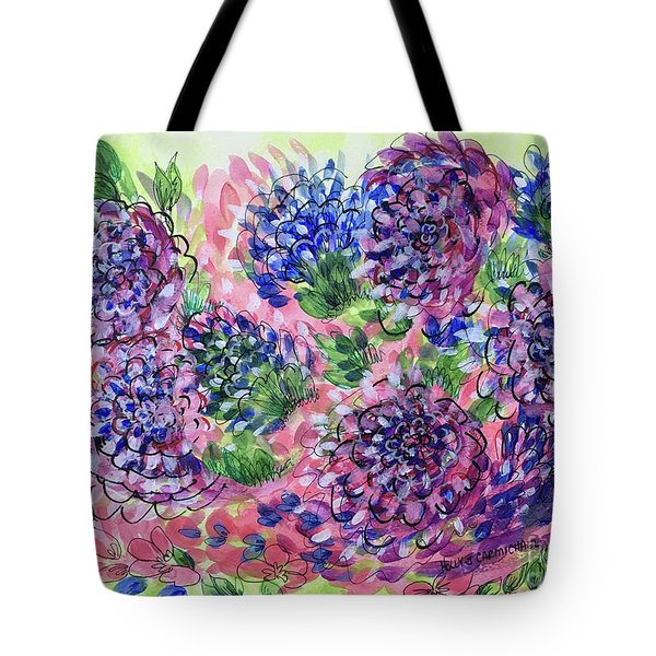 Pink And Blue Flower Flurry Tote Bag