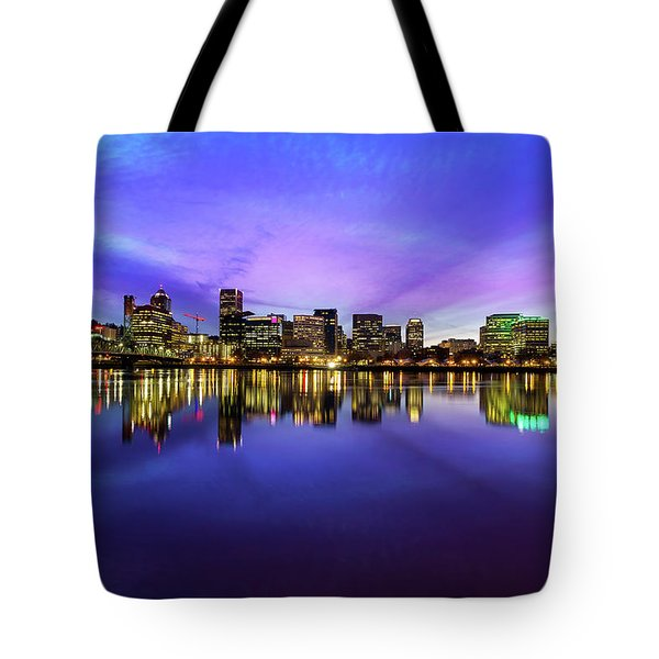 Pink And Blue Hue Evening Sky Over Portland Oregon Tote Bag by David Gn