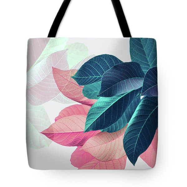 Pink And Blue Leaves Tote Bag