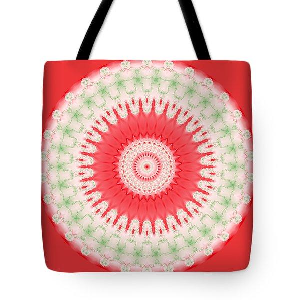 Pink And Green Mandala Fractal 001 Tote Bag