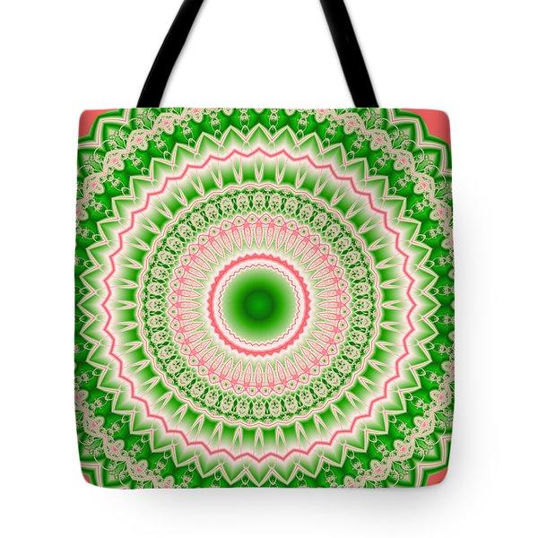 Pink And Green Mandala Fractal 002 Tote Bag