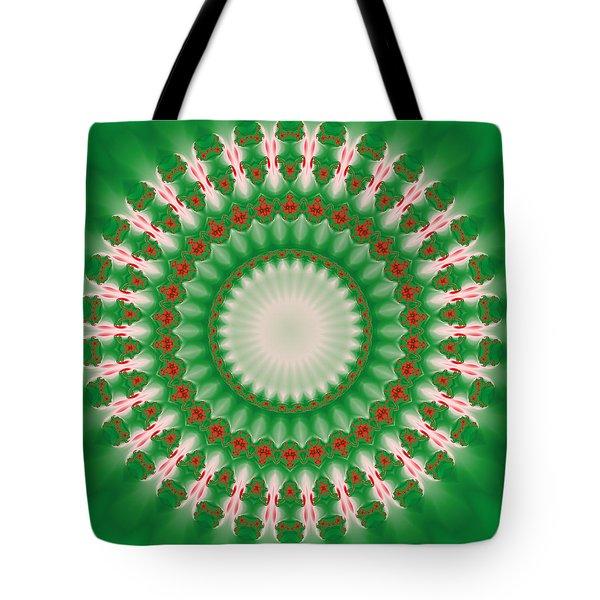 Pink And Green Mandala Fractal 005 Tote Bag