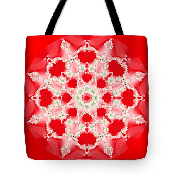 Pink And Green Watercolor Snowflake Fractal Tote Bag