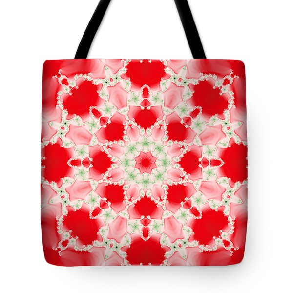 Pink And Green Watercolor Snowflake Fractal Tote Bag