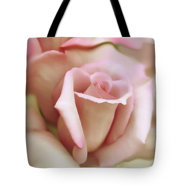 Pink And Ivory Rose Portrait Tote Bag