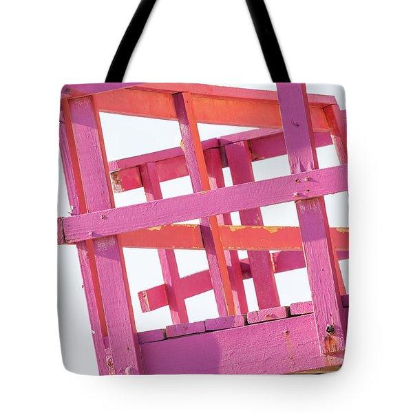 Pink And Orange Lifeguard Tower Tote Bag