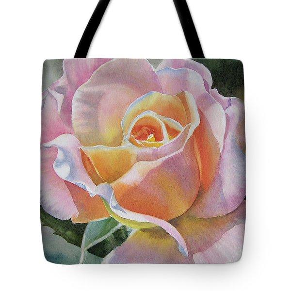 Pink And Peach Rose Bud Tote Bag