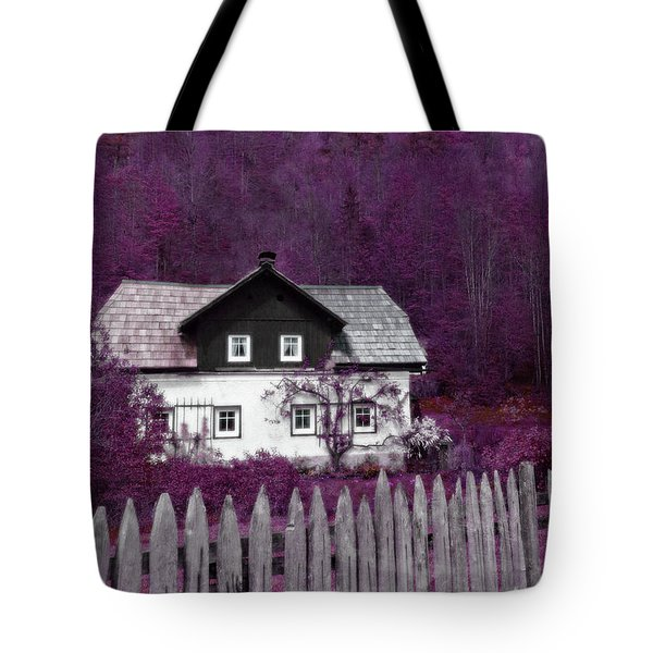 Tote Bag featuring the photograph Pink And Purple Enchanted Cottage by Brooke T Ryan