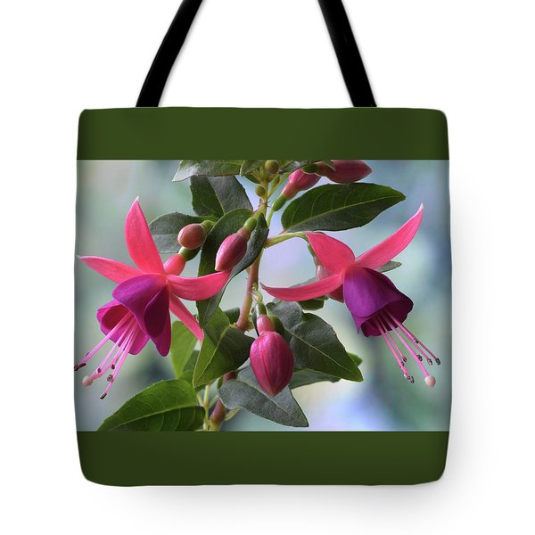 Tote Bag featuring the photograph Pink And Purple Fuchsia by Terence Davis
