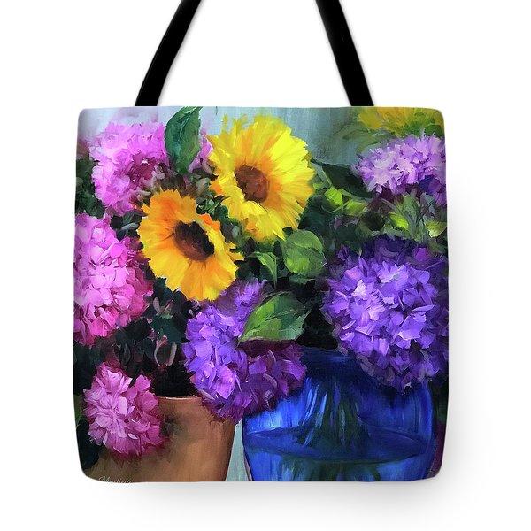 Pink And Purple Hydrangea Garden Tote Bag