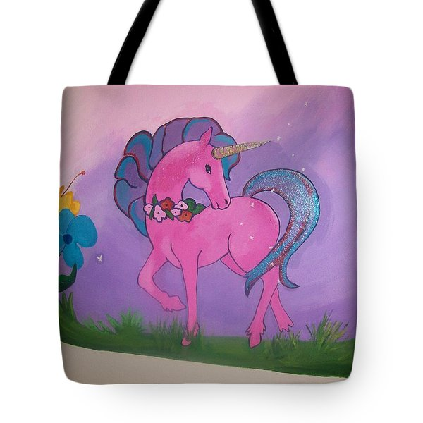 Pink And Purple Mural Tote Bag by Kathleen Heese