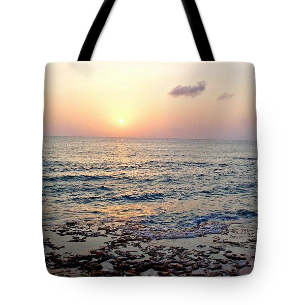 Tote Bag featuring the photograph Pink And Purple Sunset Over Grand Cayman by Amy McDaniel