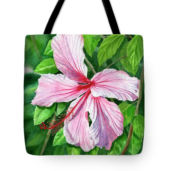 Pink And Red Hibiscus Tote Bag