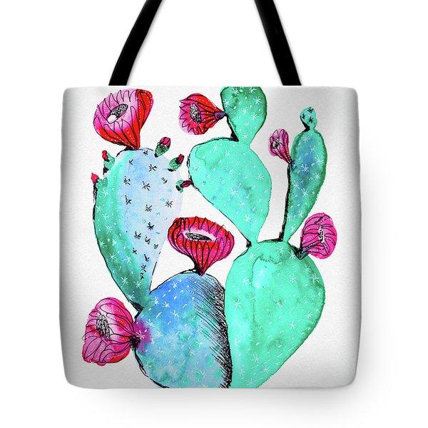 Pink And Teal Cactus Tote Bag