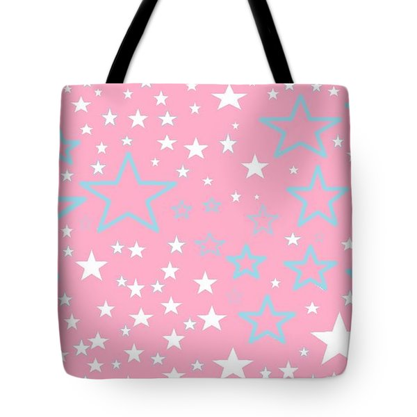 Pink And Turquoise Stars 1 Tote Bag by Linda Velasquez