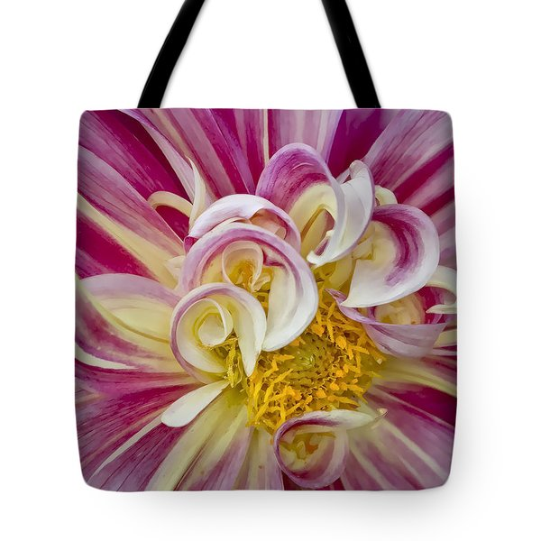 Pink And White Dahlia  Tote Bag