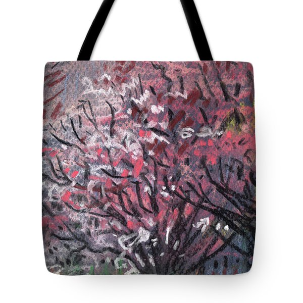 Tote Bag featuring the drawing Pink And White Dogwoods by Donald Maier