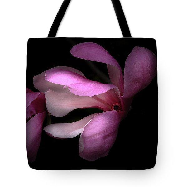 Pink And White Magnolia In Silhouette Tote Bag by Joni Eskridge